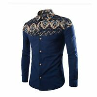 Men's slim fit formal t-shirt tops luxury stylish long sleeve dress shirt floral