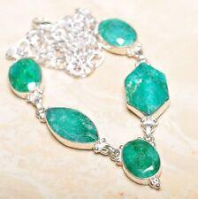 "Handmade Green Emerald Gemstone 925 Sterling Silver Necklace 19.5"" #N01077"