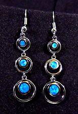 """Sterling 925 Silver SF Hook Earrings Blue Lab Fire Opal DOUBLE CIRCLES - 2"""" Drop"""