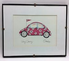 Very Cherry Volkswagen VW Beatle Bug Anne Ormsby Signed Framed Matted Art Print