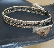 "NWOT Braided 100% Horsehair Double Tassel Hatband 1"" Wide Brown/Natural"