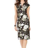 Connected Apparel Women's Dress Black Size 12 Sheath Metallic Floral $69 #463