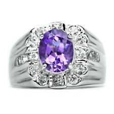 9x7mm Natural Purple Amethyst Ring With White Zircon in 925 Sterling Silver