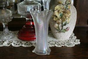Antique Northwood White Drapery Vase, Vintage Carnival Glass Iridescent Vase