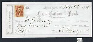 CK13 Bank Check, First National Bank of Bennington, Vt., 1866 w. tax stamp