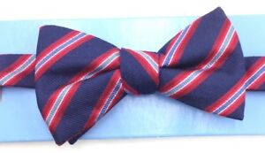 $90 Countess Mara Mens Blue Red White Reversible Bow Tie Silk Adjustable Bowtie