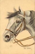 artist signed (gaber ) quality horse postcard .1914