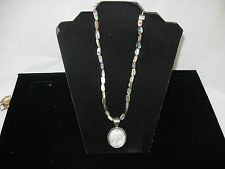 DRT  .925 Sterling Silver MOTHER OF PEARL CAMEO WITH AN ABALONE NECKLACE