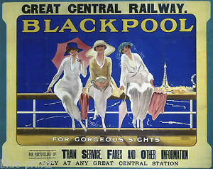 old blackpool uk TRAVEL RAILWAY POSTER PRINT ART PAINTING canvas