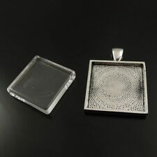 6sets Antiqued Silver Rectangle Bezel w/ Glass Tile Cabochon-pendant kit 38264