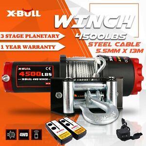 X-BULL Electric Winch 12V 4500LBS/2045KGS Wireless Steel Cable ATV UTV 4WD Boat