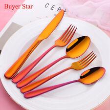 20PCS Orange Red Flatware Set Stainless Steel Knife Fork Coffee Spoon Dinnerware