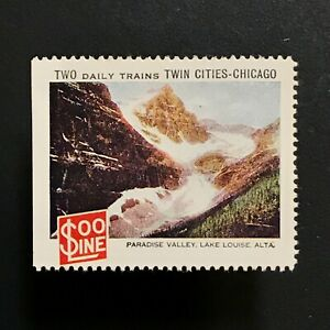 Poster Stamp * CANADA * 1915 Soo Line Railroad Lake Louise Alta Chicago