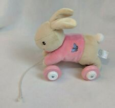 Peter Rabbit Sister Flopsy Pink Plush/Wooden Pull Along Toy 4 Wheels B-Potter