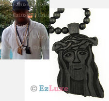 "30"" Wood Chain BLACK goodwood good Jesus Piece Necklace NYC kanye west jay z"