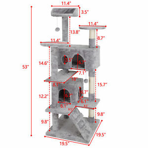"53"" Cat Tree Scratching Post Condo Activity Tower Playhouse W/ Cave & Ladders"