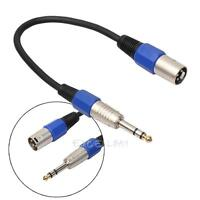 "3Pin XLR Male to 1/4"" 6.35mm Male Plug Stereo Microphone Adapter Cable Cord"