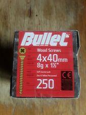 "Bullet Wood Screws 4x40mm 8g x 1.50"" Box 250"