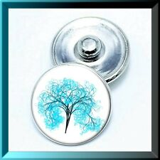 (Cart 4, 2 w/be FREE!) SPRING BLUE TREE Ginger Snap Button Charm