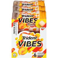 TRIDENT VIBES SUGAR FREE TROPICAL BEAT CHEWING GUM 40pcs. -6CT