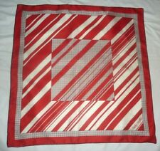 Fisba Stoffels Red Blue & White 100% Luxurious Silk Geometrical Design Scarf!