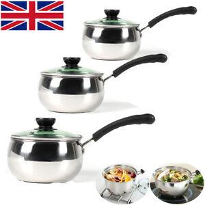 3Pcs Induction Non Stick Stainless Steel Cookware Kitchen Glass Lids Pot Pan Set