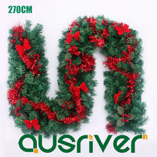 270CM 9FT Green Pine Xmas Garland Fireplace Office Shop Christmas Decor Red Bows