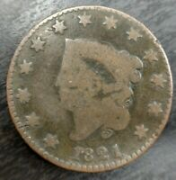1821 Coronet Head Large Cent Good G Almost Very Good VG Matron or Liberty Head