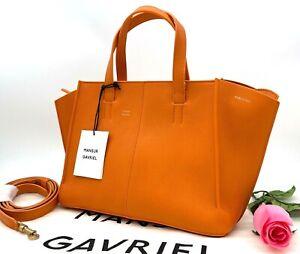 AUTH NWT $695 Mansur Gavriel Mini Zip Multitude Calfskin Leather Tote in Arancio