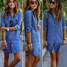 Ladies Denim Jean Short T-Shirt Dress Slim Fit Casual Beach Loose Blouse Tops