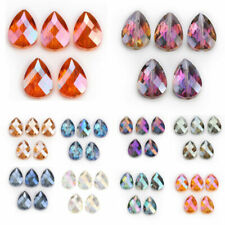 5pcs 24x17mm Teardrop Faceted Glass Crystal Loose Spacer Beads Jewelry DIY