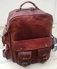 New Large Men's Leather Backpack Bags Shoulder Briefcase Rucksack Laptop Bag