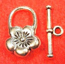 50Sets WHOLESALE Tibetan Silver FLOWER Toggle Clasps Connectors Hooks Q0499