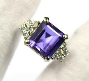 Certified Color-Changing Alexandrite & Diamond Accents Ring Sterling Silver 925