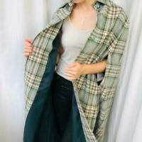 Vintage wool green pink check cape coat with buttons - Sz 10 / 12