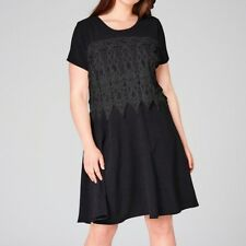 SIMPLYBE Womens Black Knee Length Evening Casual Dress Layered Lace Size 16-26