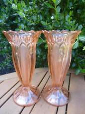 Art Glass Bagley/sowerby/davidson Art Deco Davidson Amber Pressed Glass Flower Bowl & Frog Pattern 3829021