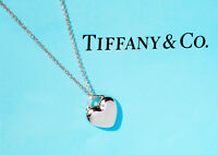Tiffany & Co Sterling Silver Solid Chain Necklace Small Puff Heart Pendent