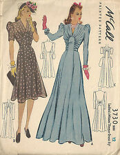 "1940 WW2 Vintage Sewing Pattern B30"" DRESS (1663)"
