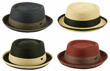Crushable 2 Tone Fedora Porkpie Hat Poly Braid w/Stingy Upturn Brim Boater Derby