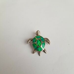 Sea Turtle Sterling Silver Green Opal Inlay Pendant 925