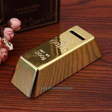 Vintage Gold Bullion Bar Bank Brick Steal Money Coin Saving Storage Box Pot Case