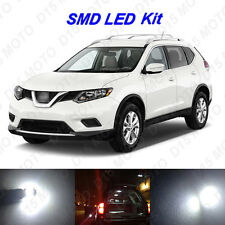 8 x White LED Interior Bulbs + License Plate Lights for 2008-2016 Nissan Rogue