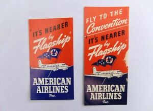 2x American Airlines vintage airline luggage labels
