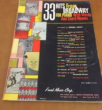 33 Hits From Broadway For Piano With Words And Chord Names