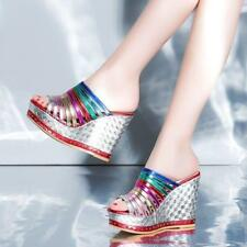 Hot Womens Lady High Platform Peep Toe Wedge Heels Sandals Slippers Pumps Shoes