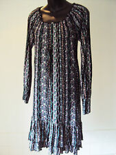 Warehouse - Black Floral - Jersey Style  L/Sleeved Dress ~ size 10