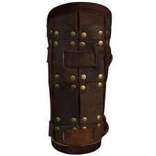 Leather Viking Fighter Bracers, Brown, Black, Medieval, Norse, Vambraces, Buckle