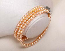 Triple strands 9-10mm south sea gold pink pearl bracelet 7.5-8inch 925s Y3393