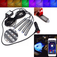 4 x 9 LED RGB 5050 Light Strip Car Atmosphere Lamp Phone APP Control HQ
